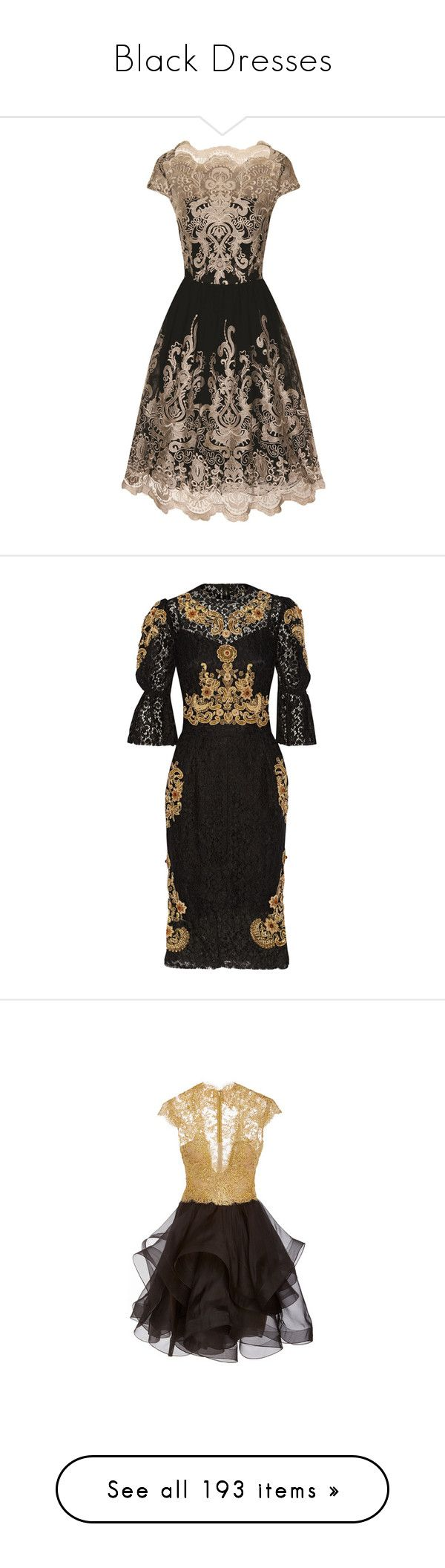 """""""Black Dresses"""" by sakuragirl ❤ liked on Polyvore featuring dresses, black, women, night out dresses, embroidered cocktail dress, chi chi dresses, metallic gold dress, cocktail party dress, dolce & gabbana and metallic lace dress"""