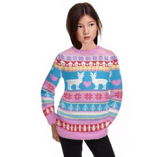 Foute print meisjes truien roze  Roze kersttrui voor meisjes. Vrolijk gekleurde kersttrui in de kleuren roze en blauw met diverse kerst afbeeldingen. De kersttrui is gemaakt van 100% acryl en geschikt voor kinderen.  EUR 26.95  Meer informatie