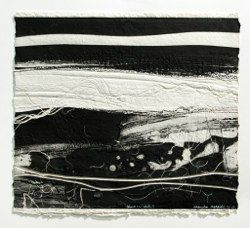 Brenda Hartill: Black and White I, embossed monoprint, unique. Image 43x48cm