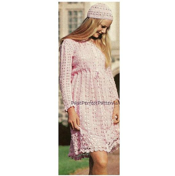 INSTANT DOWNLOAD PDF Vintage Crochet Pattern   Mini Dress Tunic and Abba Cap  Retro Lace Goddess  Plus Free Pattern
