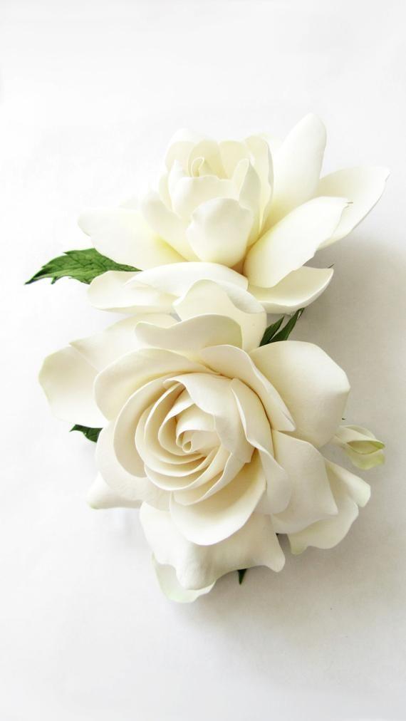 Double Gardenia Hair Clips White Ivory Gardenia Two Etsy Pretty Flowers White Flowers White Roses