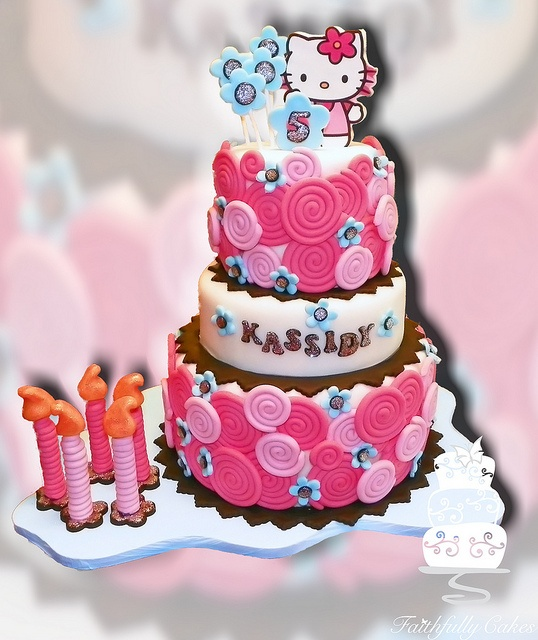 Hello Kitty Fondant Swirls 5th birthday cake
