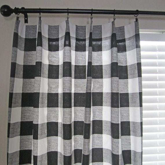 Black Buffalo Check Curtain Panels Buffalo Plaid by NewboldHome
