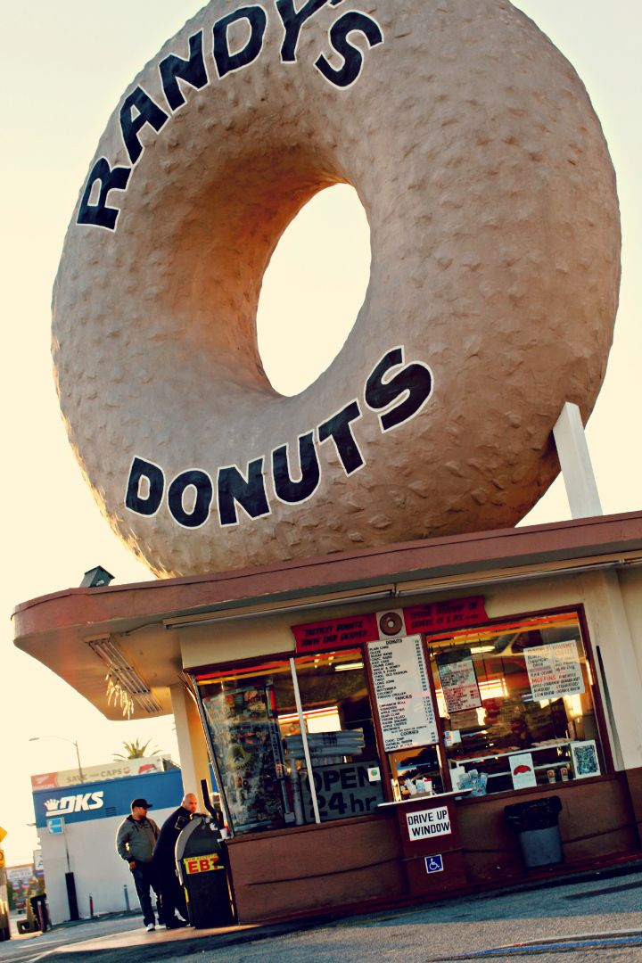 Los Angeles. Randy's Donuts. Mmmm - every once and awhile I dream about their yummy coconut donut