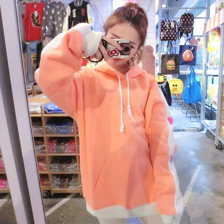 Japanese Cute Orange Heart Sleeve Loose Hoodie Sweater SD01236