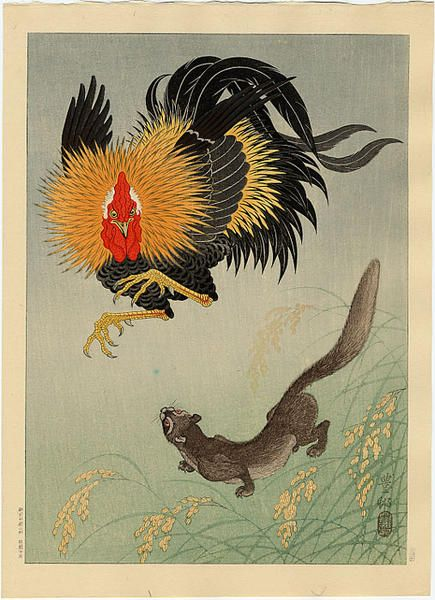 Shoson Ohara - Rooster and Weasel
