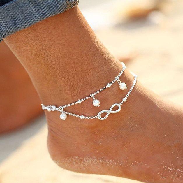 Infinity-Weiß Perlen Glück Fußkettchen No.41013