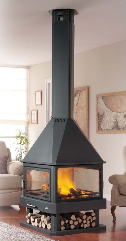 Chimenea de 4 caras a le a mm huelva estufa le a hearth stove y home fireplace - Chimenea lena ...