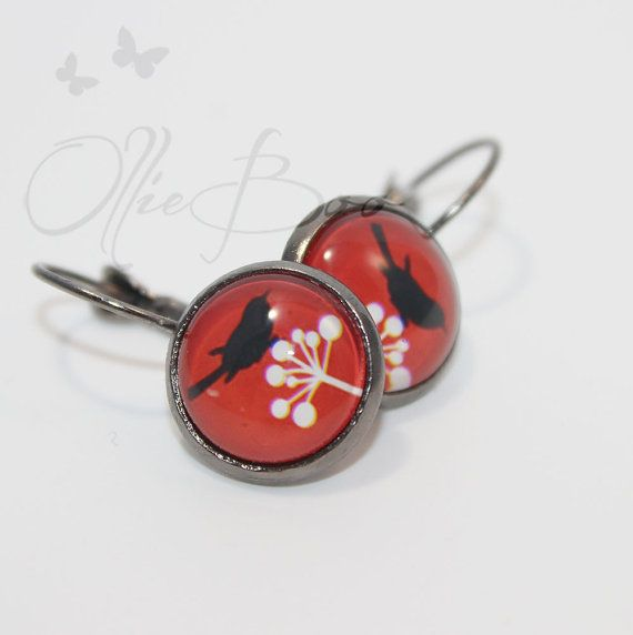 Red Black and White Bird Cabochon Earrings with by OllieBooJewelry #ollieboojewelry