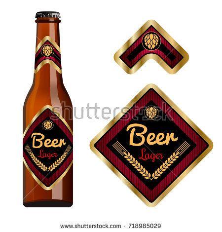Beer label template with neck label. Square label shape. Vector Illustration.