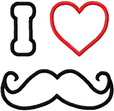 Valentine mustache embroidery design I heart mustache applique ...