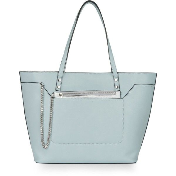 New Look Pale Blue Chain Zip Tote Bag ($25) ❤ liked on Polyvore featuring bags, handbags, tote bags, zipper tote, tote handbags, blue tote, vegan leather tote and zippered tote bag