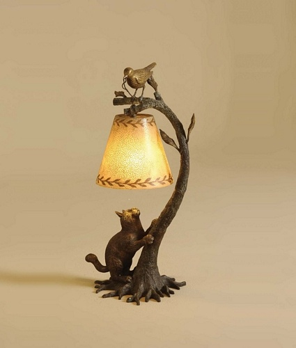 cast brass bird on branch, cat at base, verdigris finish desk lamp, eggshell shade