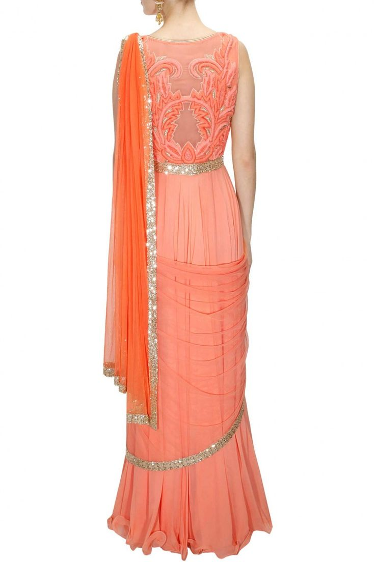 Peach dori and dabka floral embroidered anarkali set available only at Pernia's Pop-Up Shop.