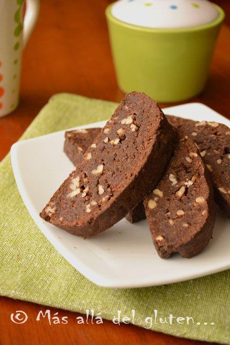 Más allá del gluten...: Biscotti de Quinua y Chocolate (Receta GFCFSF, Vegana)