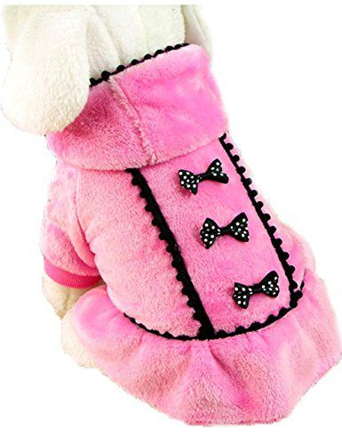 ACEFAST Puppy Pet Dog Winter Hoodie Bowknot Warm Coat Soft Plush Princess Jasmine Dress (Pink, XS) - http://www.thepuppy.org/acefast-puppy-pet-dog-winter-hoodie-bowknot-warm-coat-soft-plush-princess-jasmine-dress-pink-xs/