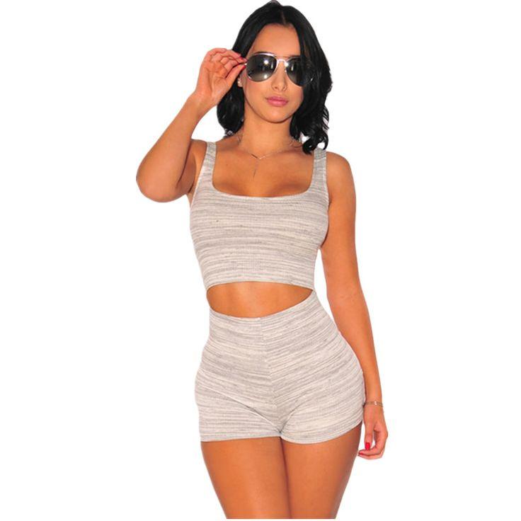 Cfanny 2016 Nouveau Barboteuses Femmes Combinaisons Blanc Gris Chiné Cut Out Body Shorts Sexy Moulante Salopette D'été Salopette Salopette(China (Mainland))