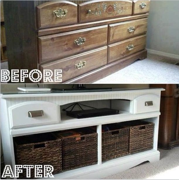 Repurposed dresser Remove drawers, replace w baskets.....makes a beautiful entertainment centre or great for a kids bedroom