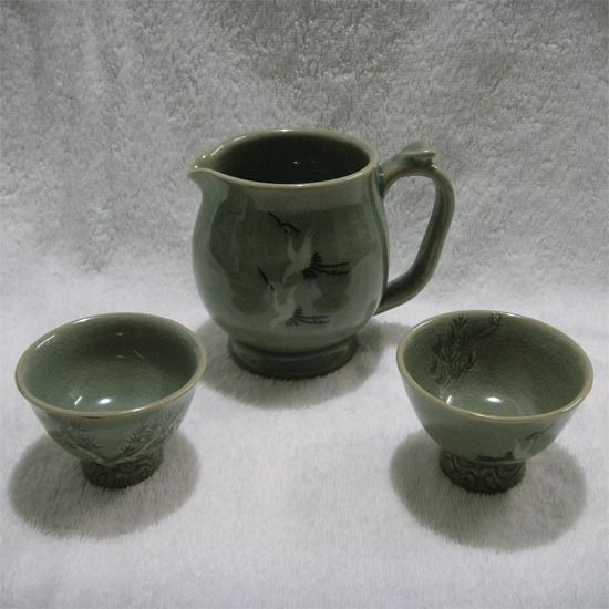 Green inlaid celadon  teacup  set  / Specialties of  Korea  /  Hand Made  ! #KoreaSeilPottery