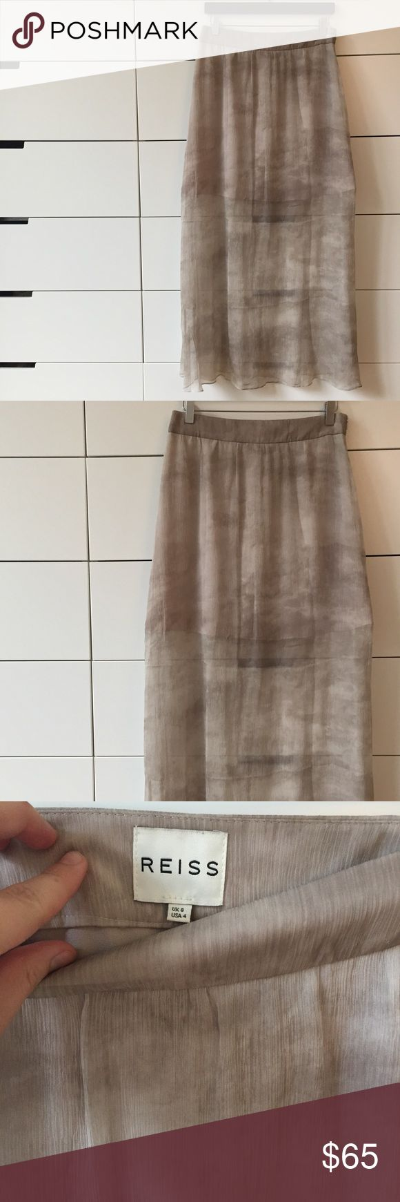 Authentic REISS Skirt 100% Silk, Worn Once Authentic REISS Skirt, 100% Silk, worn once! (No stains etc), warm beige color, paid over $250 (incl tax) Reiss Skirts Maxi