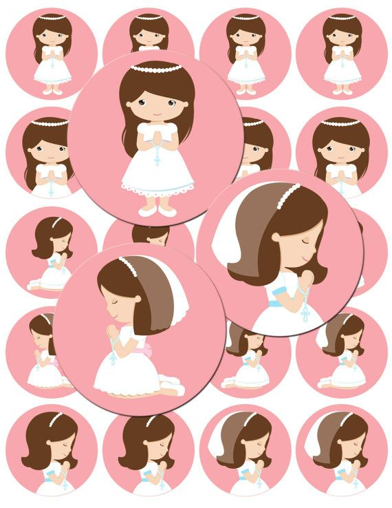INSTANT DOWNLOAD  My First Communion  8,5X11 2in Digital Collage Sheet to cupcake Toppers,button