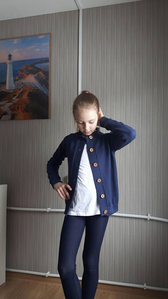 4e5aee828 COTTON knitted organic blue cardigan for kid summer sweater with ...