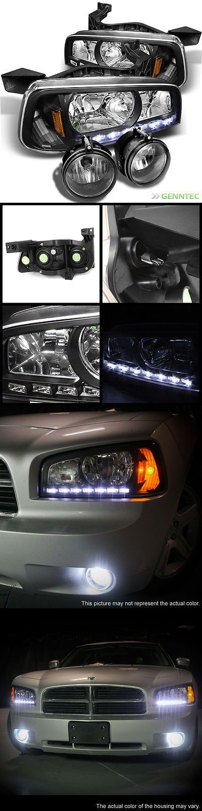 Motors Parts And Accessories: For 06-10 Dodge Charger 2In1 Led Black Headlights+Fog Lights Lamp Head Light BUY IT NOW ONLY: $195.96