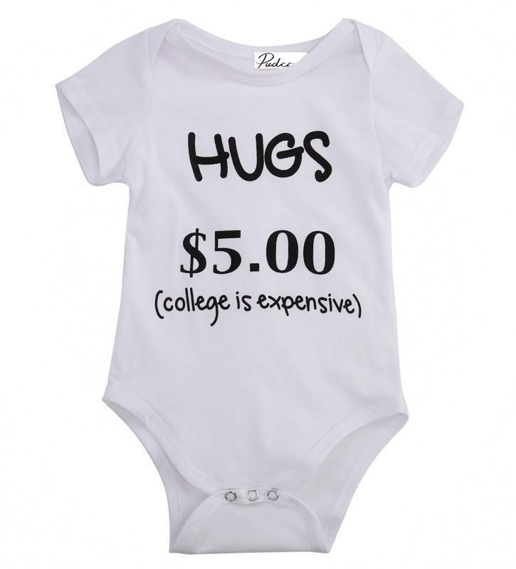 "Baby Toddler Girl Boy ""Hugs $5"" Bodysuit 6-24 Months"