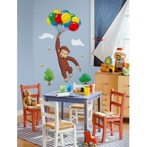 buy your curious george giant peel stick wall mural here what a mischievous little monkey bring all the fun and wonders of curious george to your room