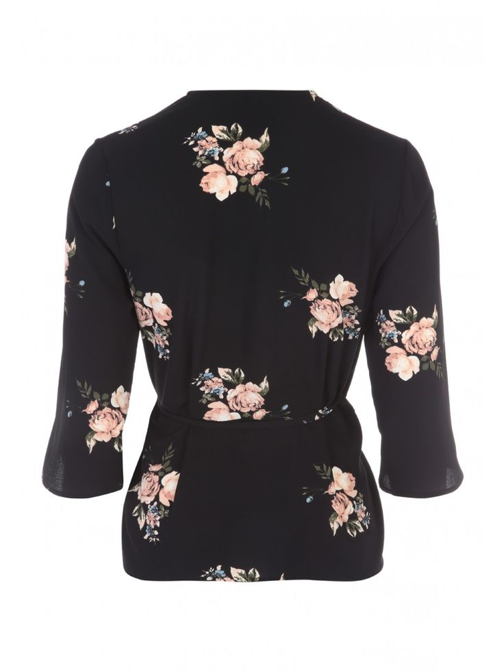 Be prepared for both the office dress code and weekend nights out with this women's floral printed wrap top. Bang on trend in a sophisticated black hue, this...