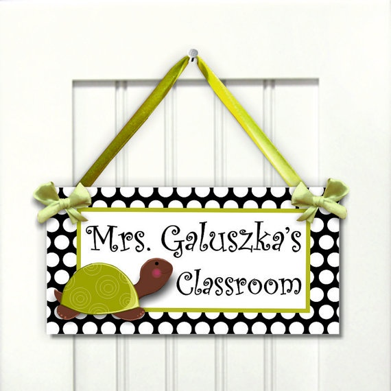 personalized teacher name classroom door sign  white by kasefazem, $15.99