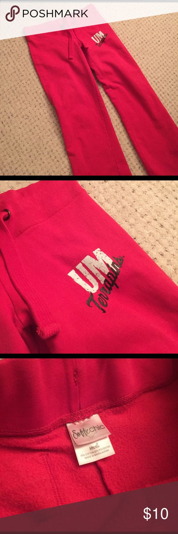University of MD Terps Red Sweatpants These are great warm sweatpants lined with fleece like material. Size small, waistband adjustable with a string but still large for me as I have a small waist, I would say these fit better for someone with M-L in bottoms so you don't have to pull the string as it's quite thick! They're also about an inch or two too long on me (I'm 5'3 and Petite) and never bothered to get these tailored. Worn very few times, still in good condition!!! Price negotiable…