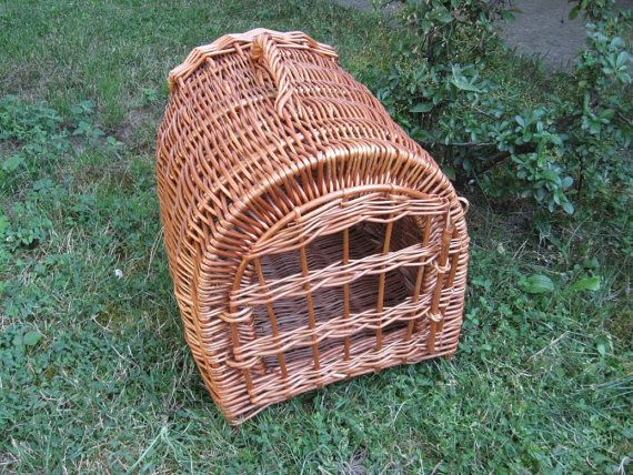 Natural Material Cat Bed/House, Handwoven Wicker House for Cat or Dog, Willow Basket for Cat/Small Dog, Wicker Pet Basket