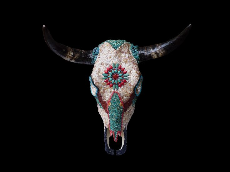 native american tile designs | Southwestern Native American Style Mosaic Wall Decor Cow Skull with ...