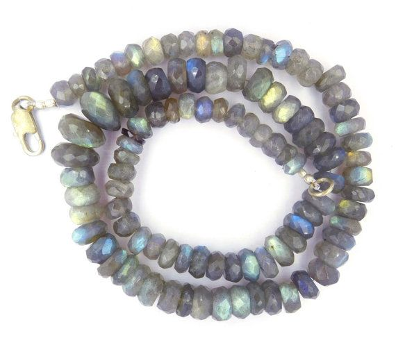 """Labradorite Beads Faceted Beads 7-13 mm Natural Gemstone Rondelle Shape Beads 341 Cts 107 Beads Loose Beads 18"""" Necklace Ready To Wear Ag-32    Could Be used in Your Custom Jewelry Making    This Strand is 18"""" Inches Long,     The Photo Is The Representative Of The Actual Product.    You Will Receive One Similar To The Photo. Color And Patterns May Vary.    Stone: Labradorite     Shape: Micro Faceted Rondelle Beads     Color:  Color As Seen In Provided Image    Style: - Faceted Style…"""