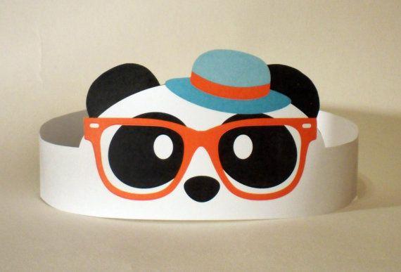 Hipster Panda Paper Crown  Printable van PutACrownOnIt op Etsy, $2.00