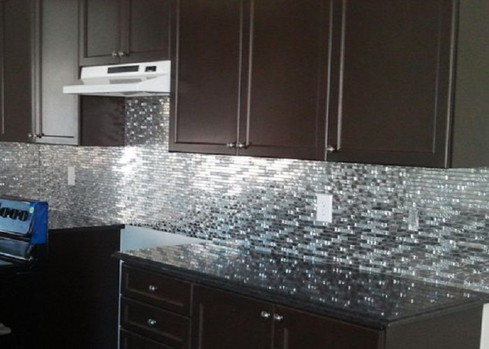 Stainless Steel Backsplash Kitchen Stainless Steel Metal And Black Tiled Glass Mosaic Kitchen Backsplash