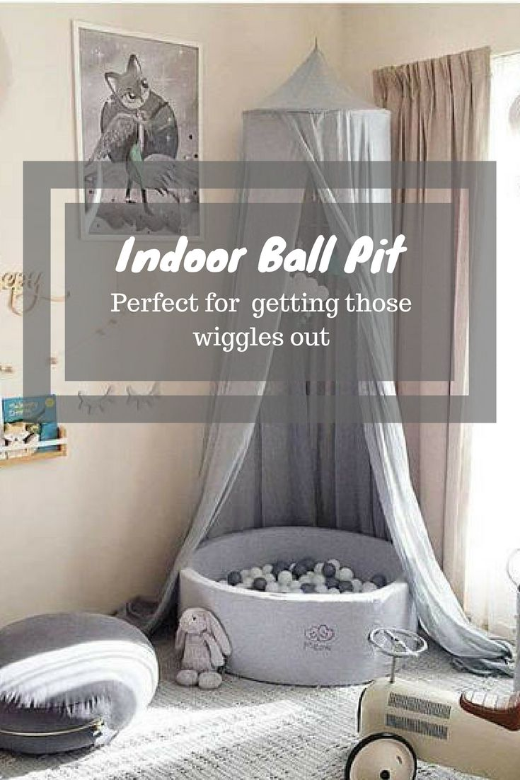 Such a great idea for getting those winter or rainy day wiggles out. Great for sensory play Gray Dry Ball pit GRAY with 250 High Quality Plastic balls For Baby Kids Children Dry Pool bällebad Modern Nursery Decor Kids Toy Gift #kidtoys #ad