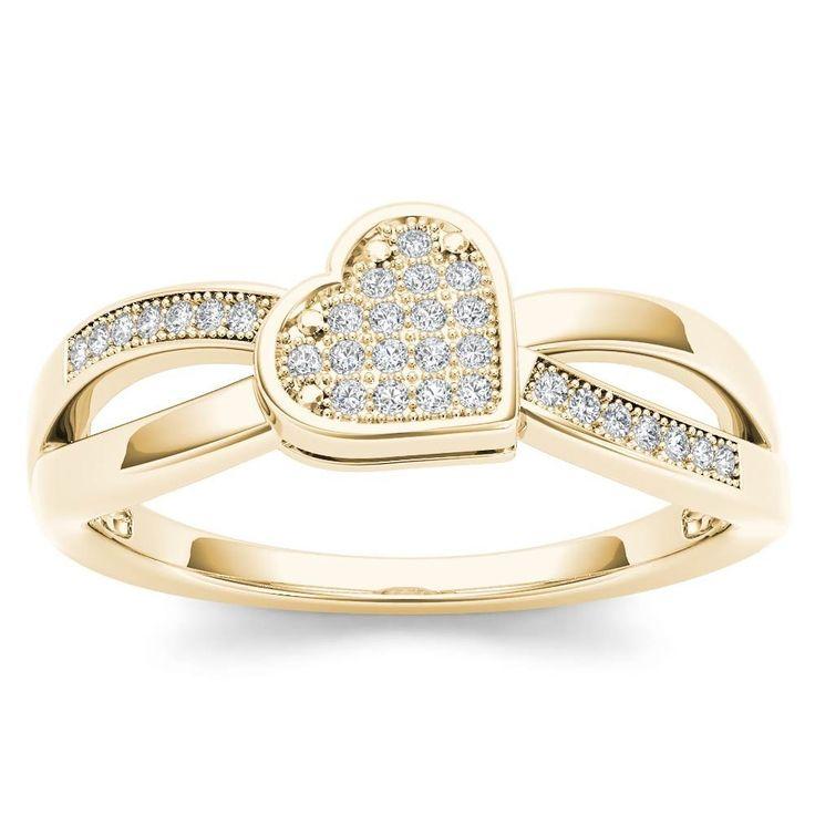 10Kt Yellow Gold Diamond Heart Ring by ElizabethJewelryInc on Etsy