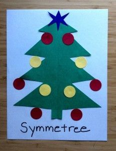 """With circles and hole punches, have students make symmetrical trees and stars to decorate their own """"symmetree"""""""