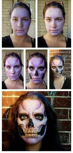 gruselige halloween schminke frau anleitung skelett