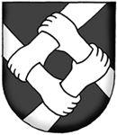SV-39 Nykvarns byförening   Registrerat 2008-08-27.   (Ansökan 2007:58)       Sköld: I svart fyra framkommande högerunderarmar, vardera med handen greppande moturs om handleden framför sig och därmed tillsammans bildande en snedruta, allt av silver.