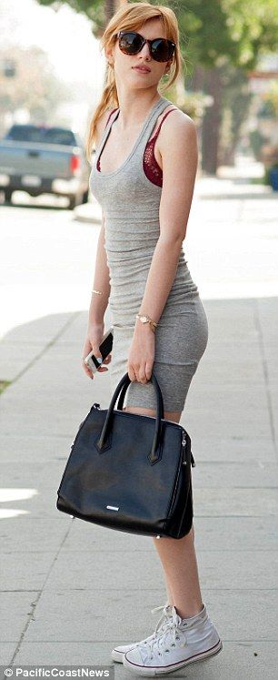 Bella Throne.  Simple fitted grey mini-dress and white sneakers