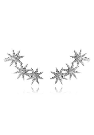 87ccd371099e1 Ear-cuff-de-estrelas-prata-com-zirconias-cristais-e-banho-de-rodio-semi- joias   Joias   Pinterest
