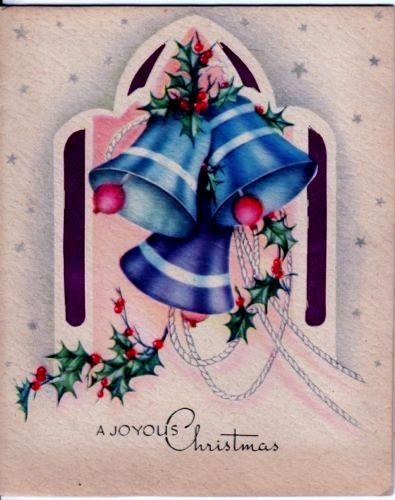 Vintage Greeting Card Christmas Bells #