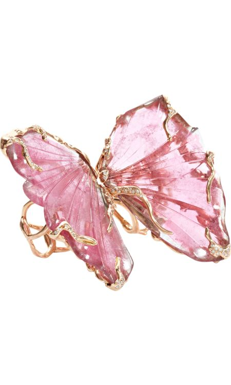 Lucifer Vir Honestus Pink Tourmaline Double Butterfly Ring. Two 18k rose gold organically shaped rings set with a pink tourmaline and white pave diamond detail.