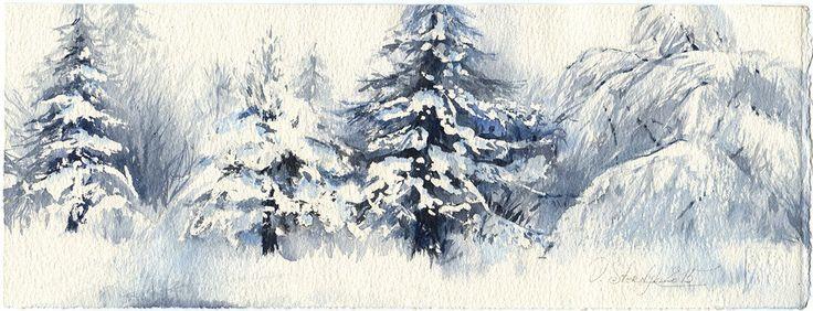 Inverno di pittura ad acquerello dell'albero arte