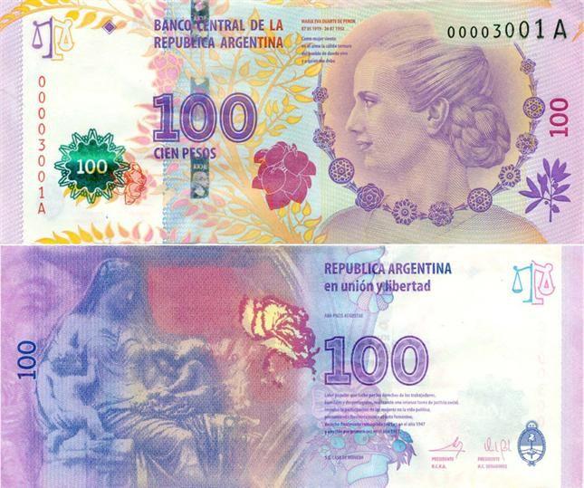 Le nouveau billet Eva Peron de 100 pesos