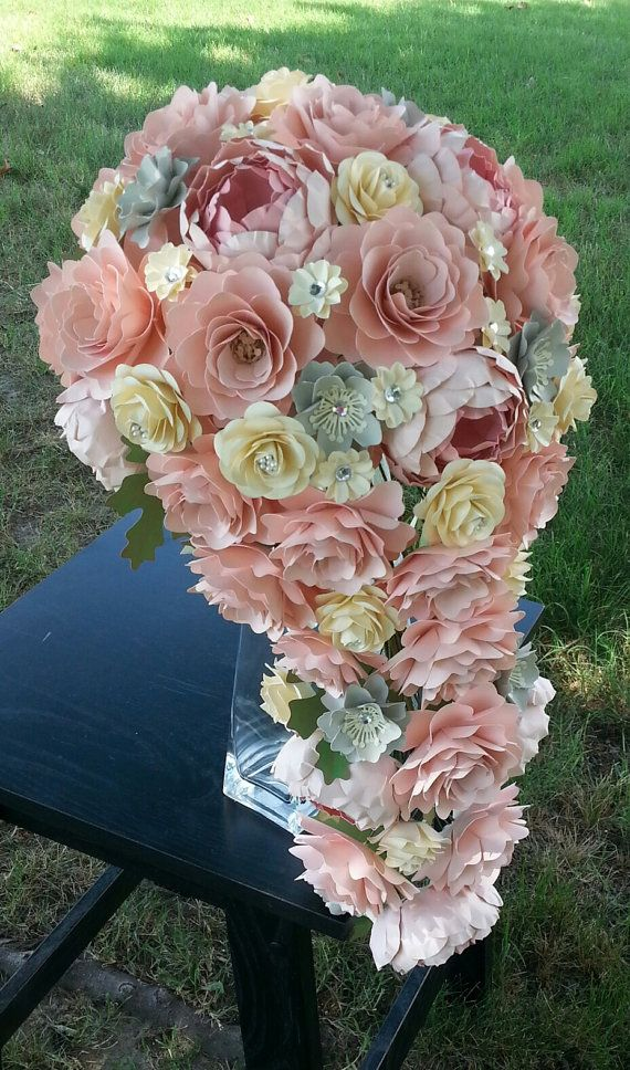 This listing is for a ONE CUSTOM designed Cascading Bridal Bouquet, diameter measurements varying based on final design. The pictures showcase