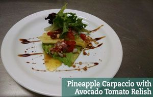 Light and fresh avocado salad matched with pineapple and a pomegranate vinaigrette. Serves 4. 440 calories per serving.